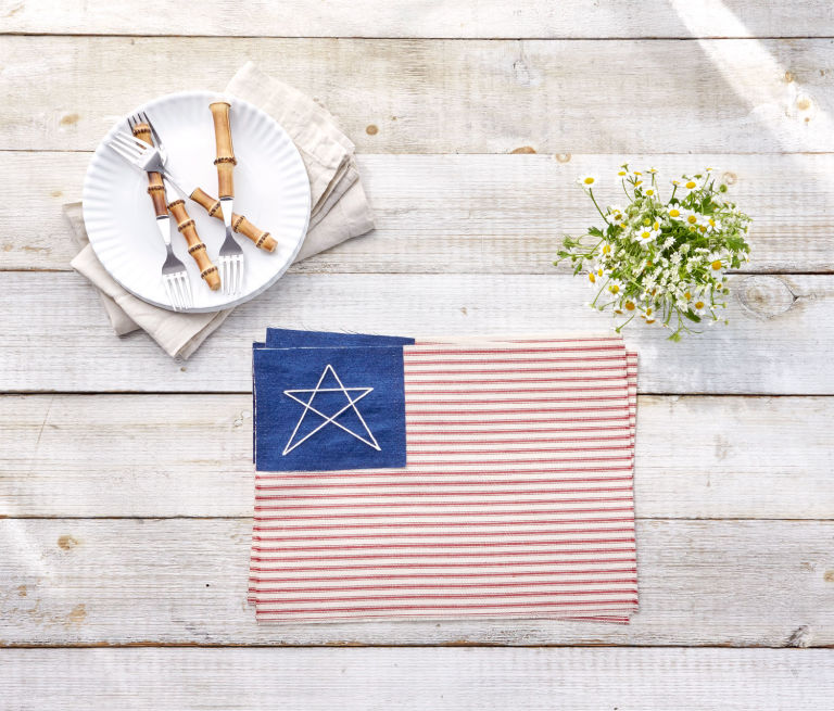 4th of July embroidered place mats
