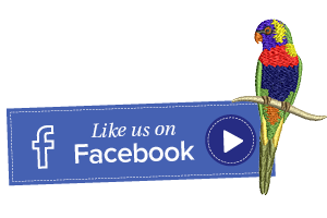 Hatch Embroidery Facebook page rainbow lorikeet machine embroidery design