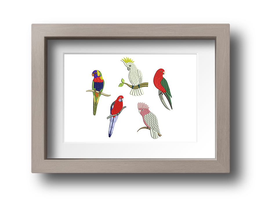 Australian exotic birds machine embroidery designs