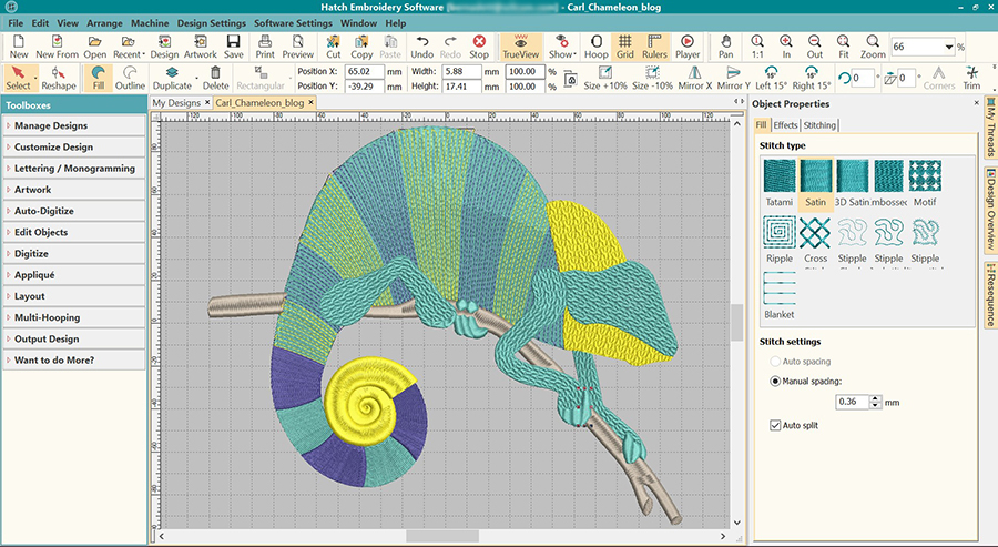 Digitizing Carlo The Chameleon Downloadable Free Design