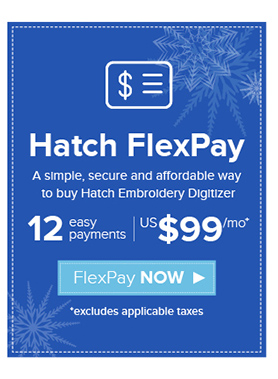 Hatch Embroidery FlexPay US$99 x 12 months