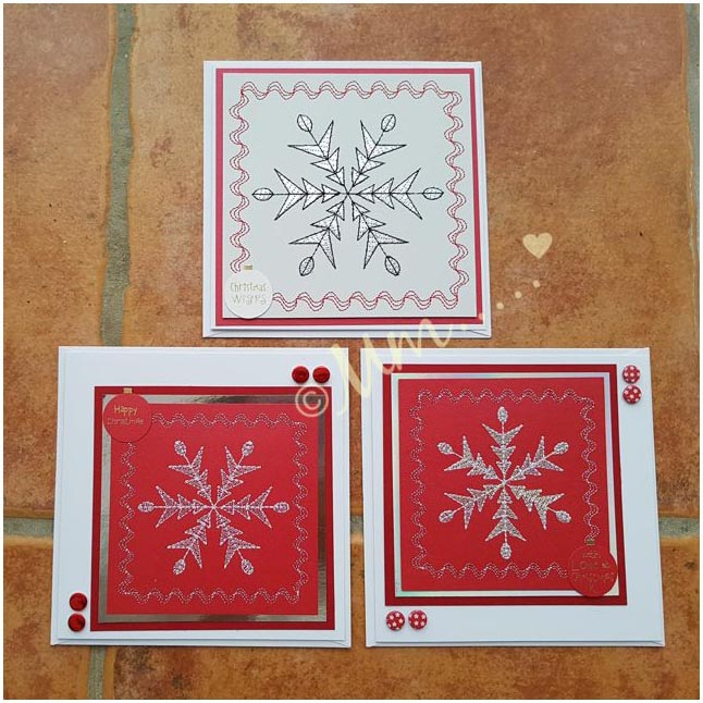 Embroidered Christmas cards by Meryl Robinson