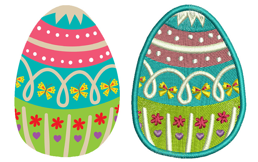 Easter egg graphics and embroidery design