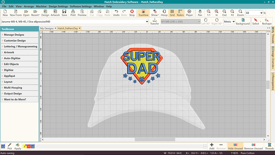Machine embroidery visualizer in Hatch Embroidery software - on cap