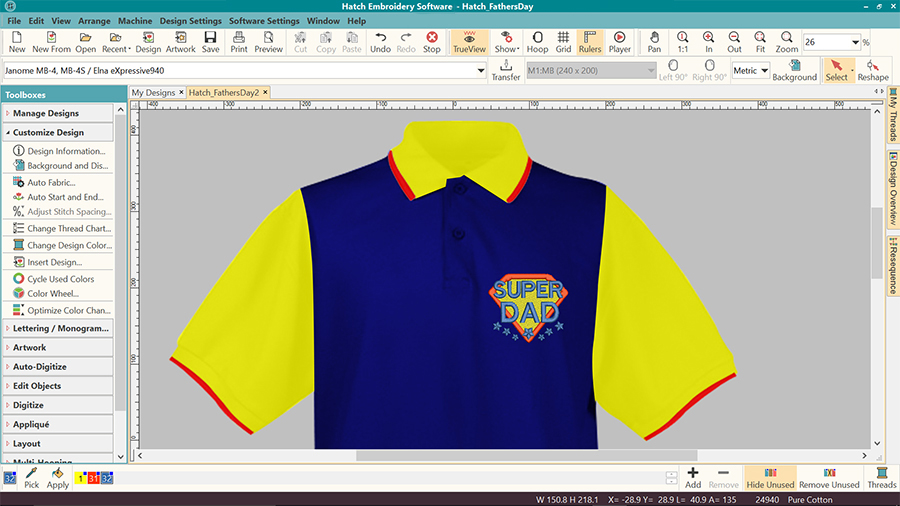 Machine embroidery visualizer in Hatch Embroidery software - 3 color polo shirt