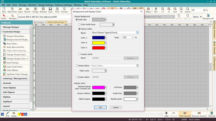Machine embroidery visualizer in Hatch Embroidery software - multi color garment