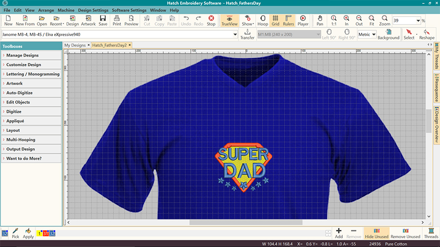 Machine embroidery visualizer in Hatch Embroidery software - on tshirt