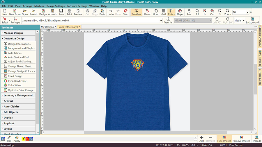 Machine embroidery visualizer in Hatch Embroidery software - custom tshirt