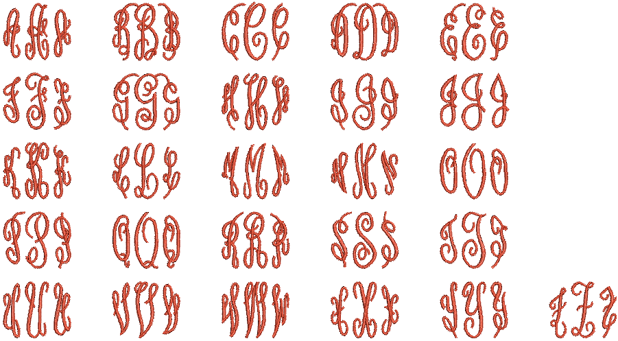 Hatch Embroidery machine embroidery Fancy Monogram font