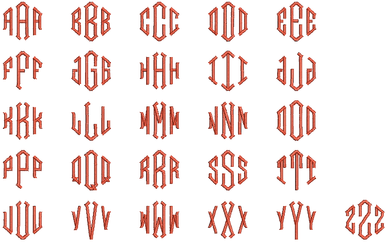 Hatch Embroidery machine embroidery Print Monogram font