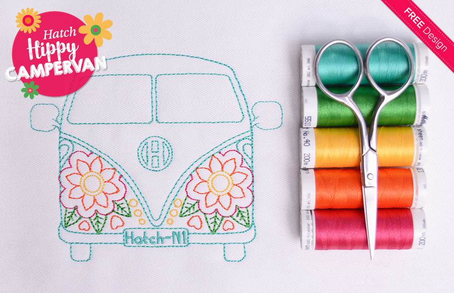 Hippy Campervan machine embroidery design