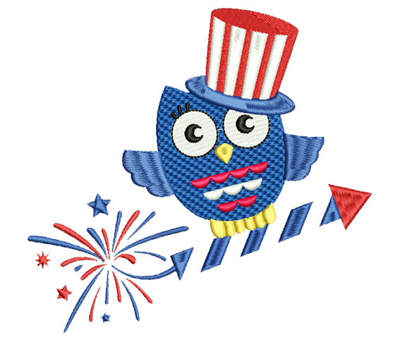 4th of July owl machine embroidery design