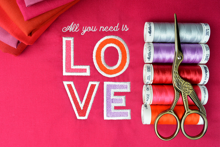 Valentine's Day sayings machine embroidery design with thread