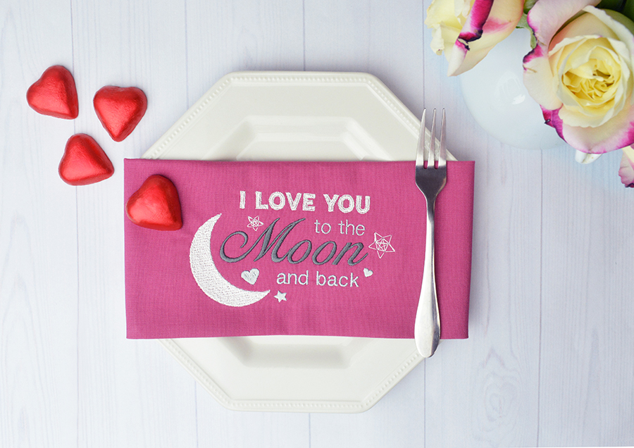 Valentine's Day sayings machine embroidery design on napkin