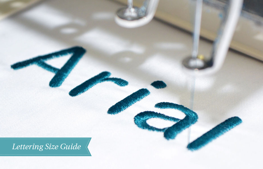 Machine embroidery lettering size guide