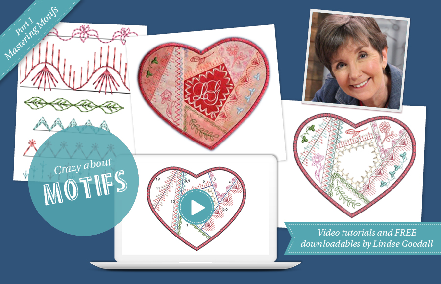 mastering machine embroidery motifs and crazy patch heart