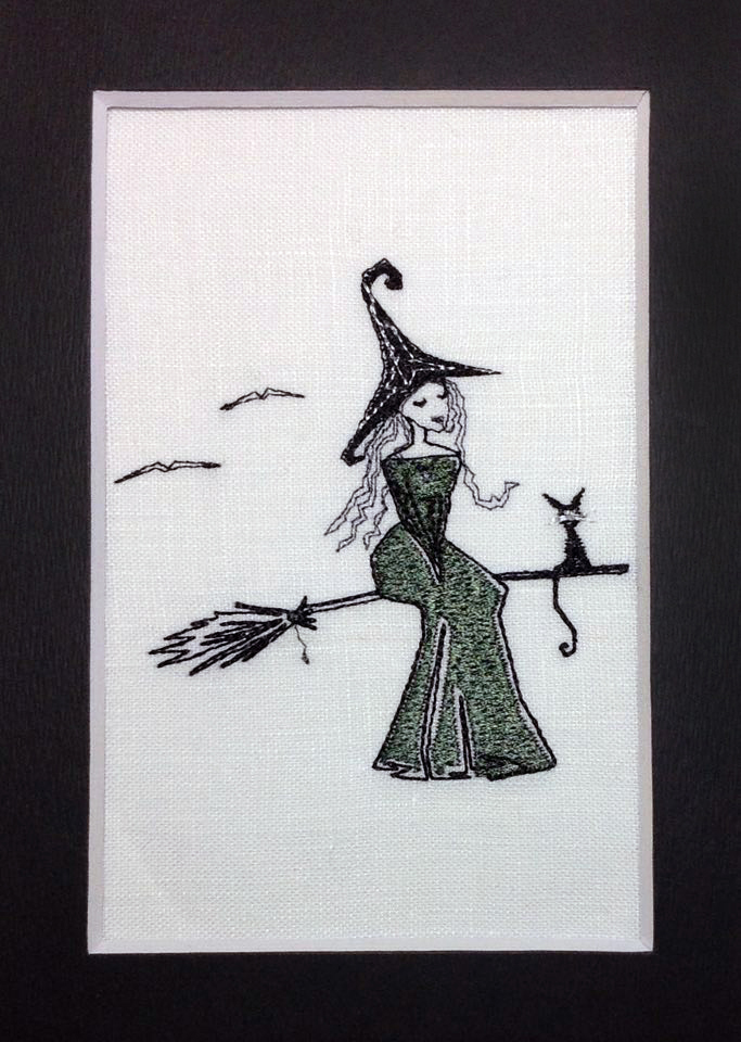Witch on broom Halloween free machine embroidery design