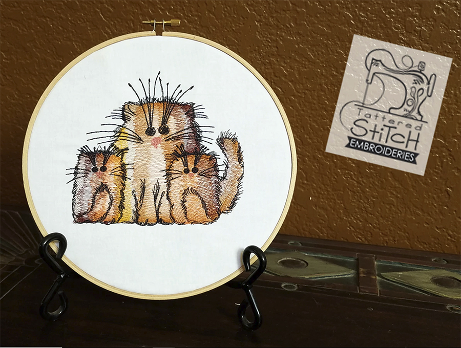 cats machine embroidery design by Tattered Stitch Embroideries