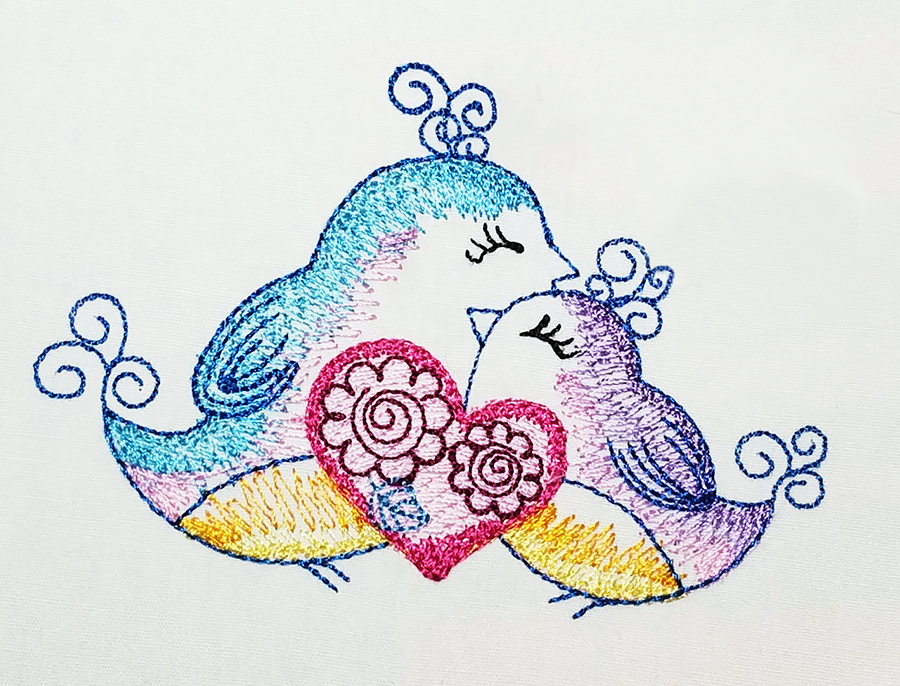 love birds machine embroidery design by Tattered Stitch Embroideries