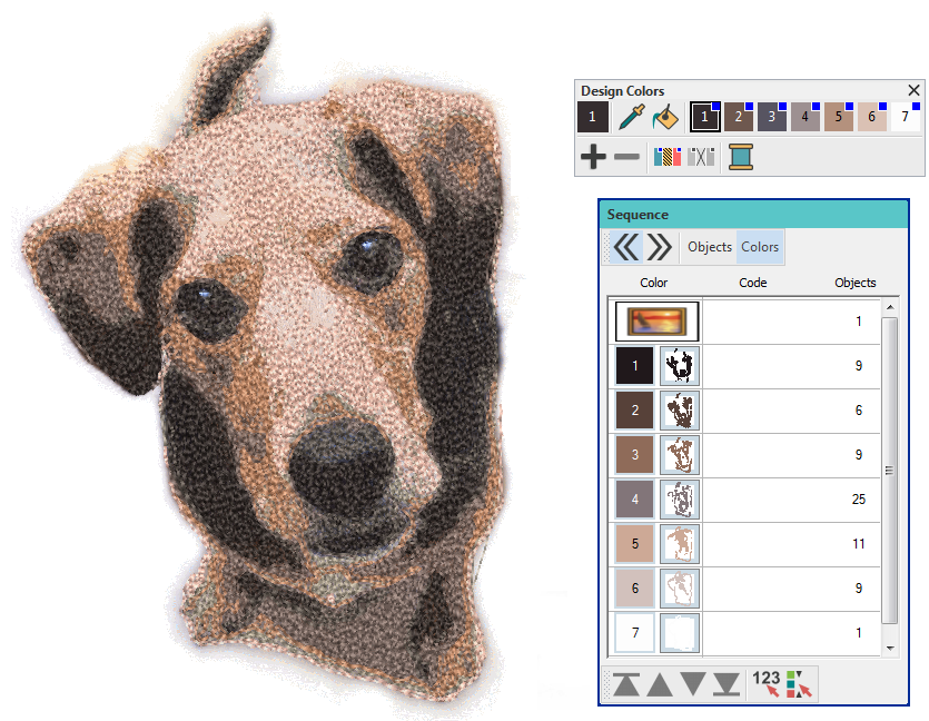 Color PhotoStitch tool in Hatch Embroidery