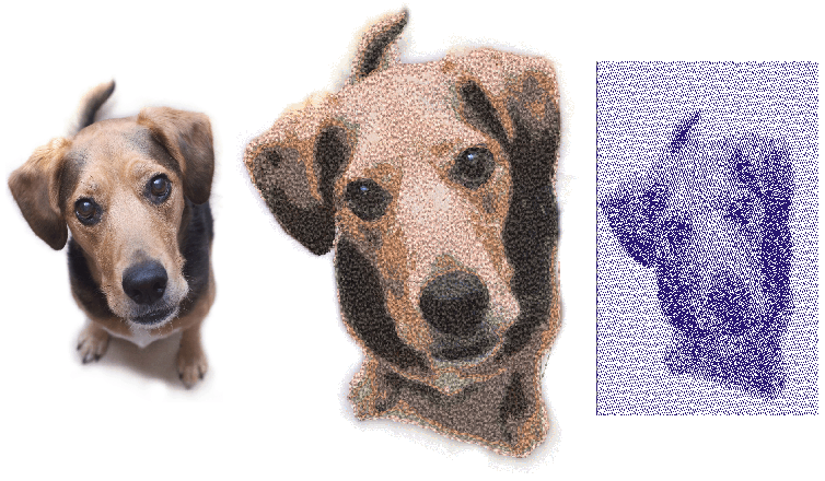 PhotoStich and PhotoFlash image of dog created with Hatch Embroidery