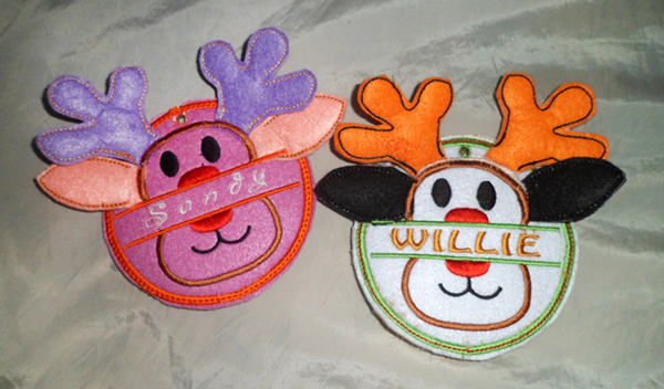 machine embroidery patches reindeer with name