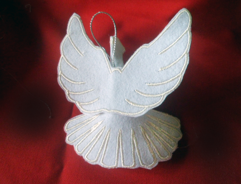 machine embroidered felt angel Christmas decoration