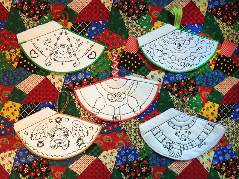machine embroidered Christmas decorations