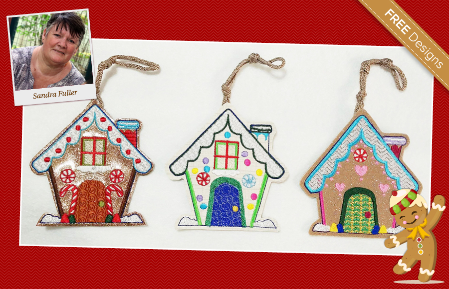 ginger bread houses free machiene embroidery design by Sandra Fuller