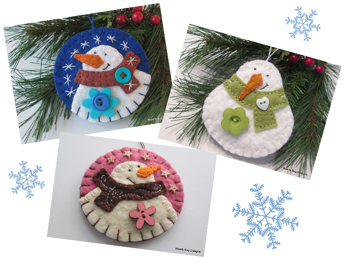 snowmen wool felt Christmas ornament decorations