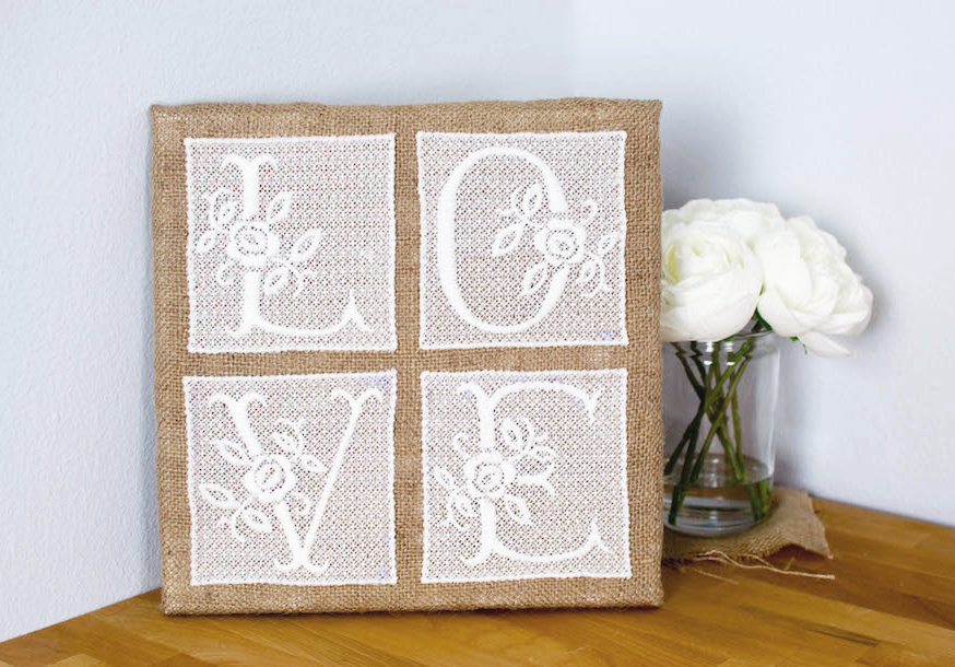 Free standing lace machine embroidery wall art design