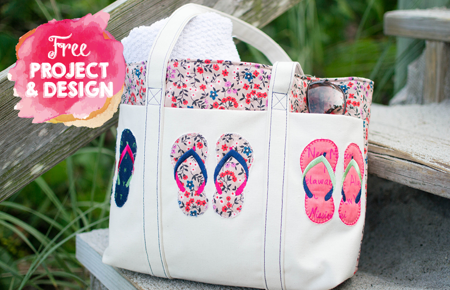 cb4807b6a Summer Tote with 3D Flip-Flops Embroidery - Instructions   FREE Design.  Caroline Critchfield makes summer even more fun with this gorgeous bag
