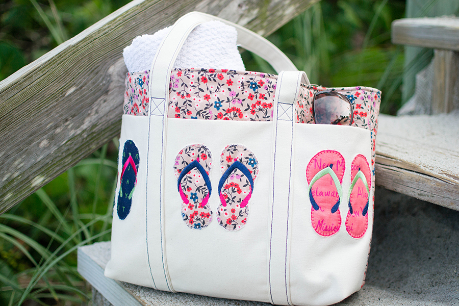 summer tote bag with flipflops machine embroidery appliqué by Caroline Critchfield
