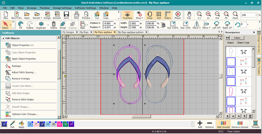 Summer Tote With 3d Flip Flops Embroidery Instructions Free Design