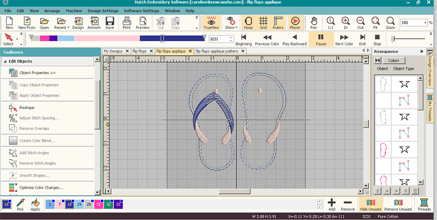 flip-flop machine embroidery appliqué design screenshot in Hatch Embroidery software