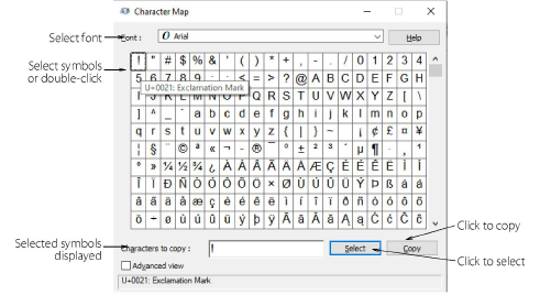 Using The Character Map
